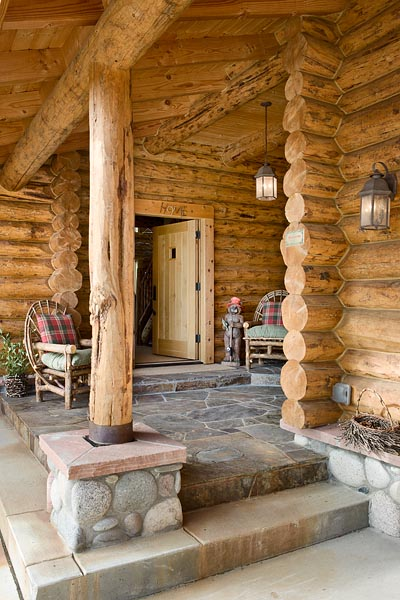 Exterior, vertical, entry, Meyer residence, Milner, Colorado; Montana Log Homes