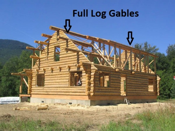 With full log gables