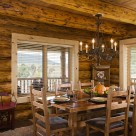 Dining room in custom log home