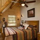 Bedroom in loft of log home