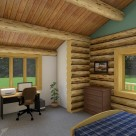 bedroom with small office in custom log home