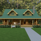 Exterior fron view of custom log home