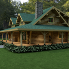 Exterior quarter view of custom log home with wrap around porch
