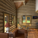 Dining room in custom log cabin