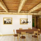 Renderring of log home dining room