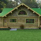 Exterior view of log home with green metal roof