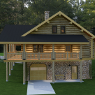 Log cabin with wrap around porch