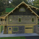 End view of log cabin set on stone basement with covered porch on left and cedar shingles on gable end.
