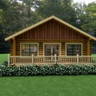 Exterior of log cabin in the woods