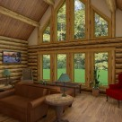 Interior great room in handcrafted log home