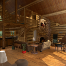 Interior of log home with grand piano by fireplace and open to kitchen