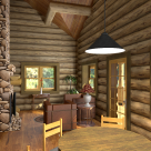 Living room in log cabin with cathedral ceiling