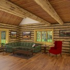 Interior of log home living room