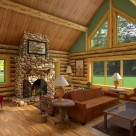 Interior living room in log home