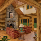 Interior great room in custom log home with fireplace