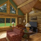 Interior living room of log home
