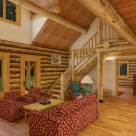 Interior living room in custom log home
