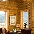 Close up photo of handcrafted log wall with telescope set in front of tall window trimmed in pine boards.