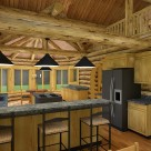 Kitchen and breakfast nook in handcrafted log home