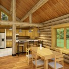 Kitchen and dining room in custom log home