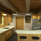 Rendering of log home kitchen with pine cabinetry and white contertops. Large angled breakfast bar with barstools to right and log ceiling beams above.