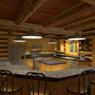Log home kitchen with large breakfast bar