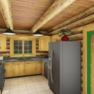 Log home kitchen rendering