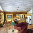 Kitchen and dining room in log cabin