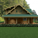 Exterior side view of log home