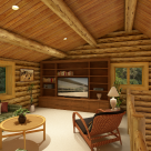 Open loft with television and cozy chairin log home