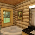 Bathroom with corner tub in handcrafted log home