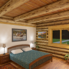 Master bedroom in log home
