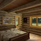 Rendering of handcrafted log home bedroom with king size bed set on wood floors with view through large windows to exterior porch and forest beyond.
