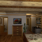 Rendering of log home bedroom with wood floors, white interior walls and log beams in ceiling.