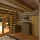 Bedroom of log home with french doors leading to covered porch