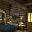 bedroom in log cabin with sunroom