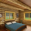 Bedroom in handcrafted log home