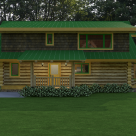 Side view of handcrafted log cabin with green roof, full length shed dormer with large window above covered entry with log posts.
