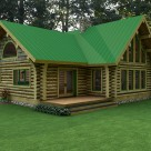 Log home with covered porch