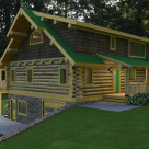 Quartering view of log cabin with green roof and full shed dormer above covered entry supported by log post and beam.