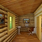 Interior of office in handcrafted log home