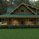 Exterior side view of custom log home