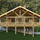 Handcrafted log home with log truss over covered porch