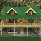 front view of handcrafted log cabin set on full basement with covered porch and log railings, two gable dormers and green metal roof.