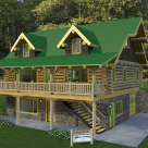 Rendering of handcrafted log home with green metal roof on full basement with large covered porch with log rafters and log rails, two gable dormers above accent long roof line.