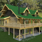 Corner view of handcrafted log cabin set on hillside. Cabin features sunroom on end covered porch with log rafters on front and two gable dormers in loft above.