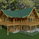 Exterior log home with covered porches