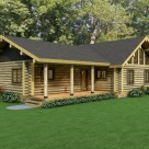 Exterior log home with covered porch