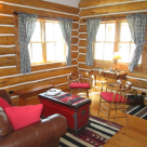 Living room in small log cabin