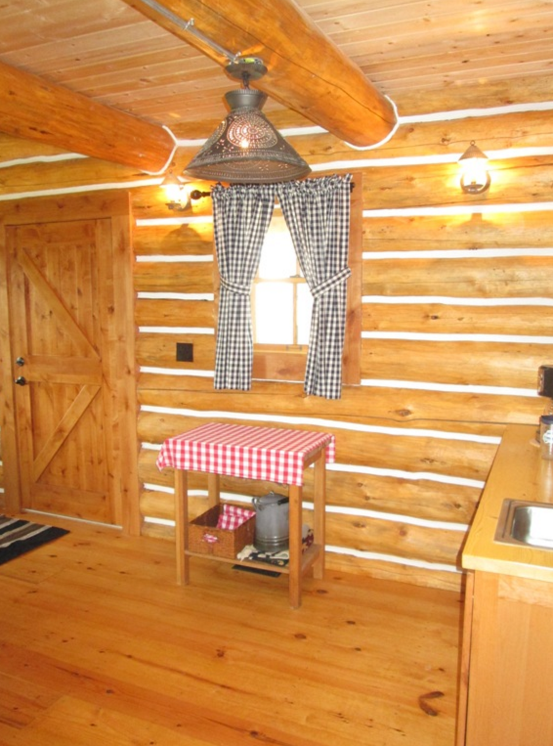 Interior of chinked log cabin
